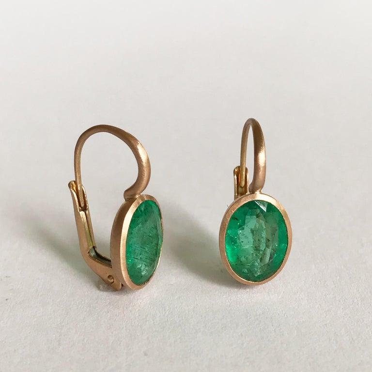 Dalben Oval Cut Emerald Rose Gold Earrings For Sale 3