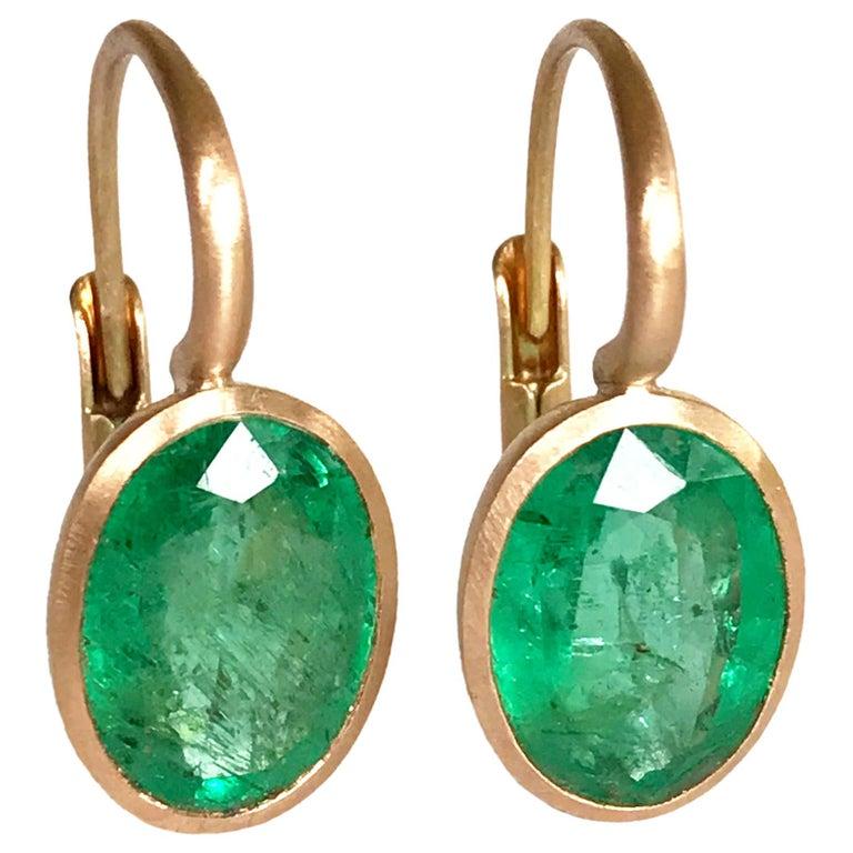 Dalben Oval Cut Emerald Rose Gold Earrings For Sale