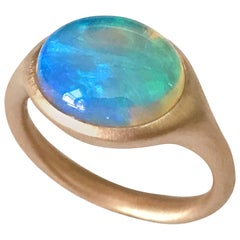 Dalben Oval Opal Rose Gold Ring