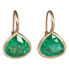 Dalben Pear Cut Emerald Rose Gold Earrings