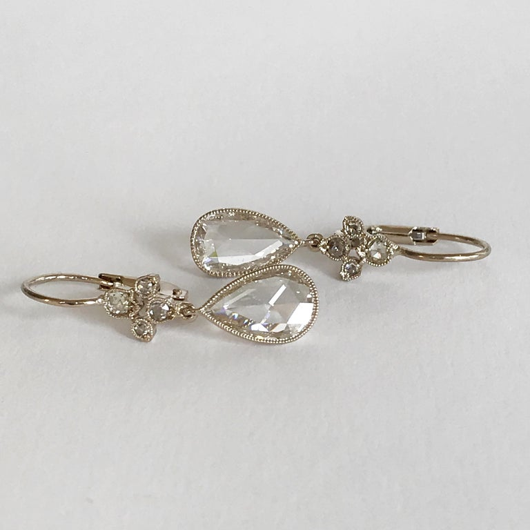 Contemporary Dalben Pear Shape Rose Cut Diamond White Gold Earrings For Sale