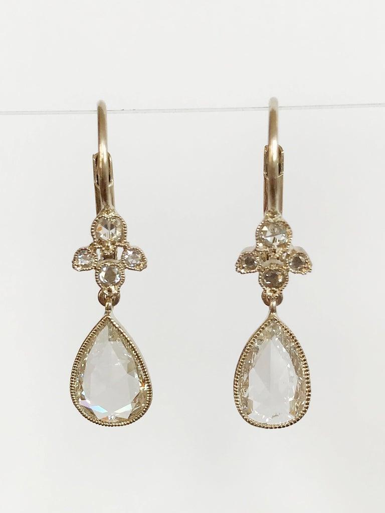 Pear Cut Dalben Pear Shape Rose Cut Diamond White Gold Earrings For Sale