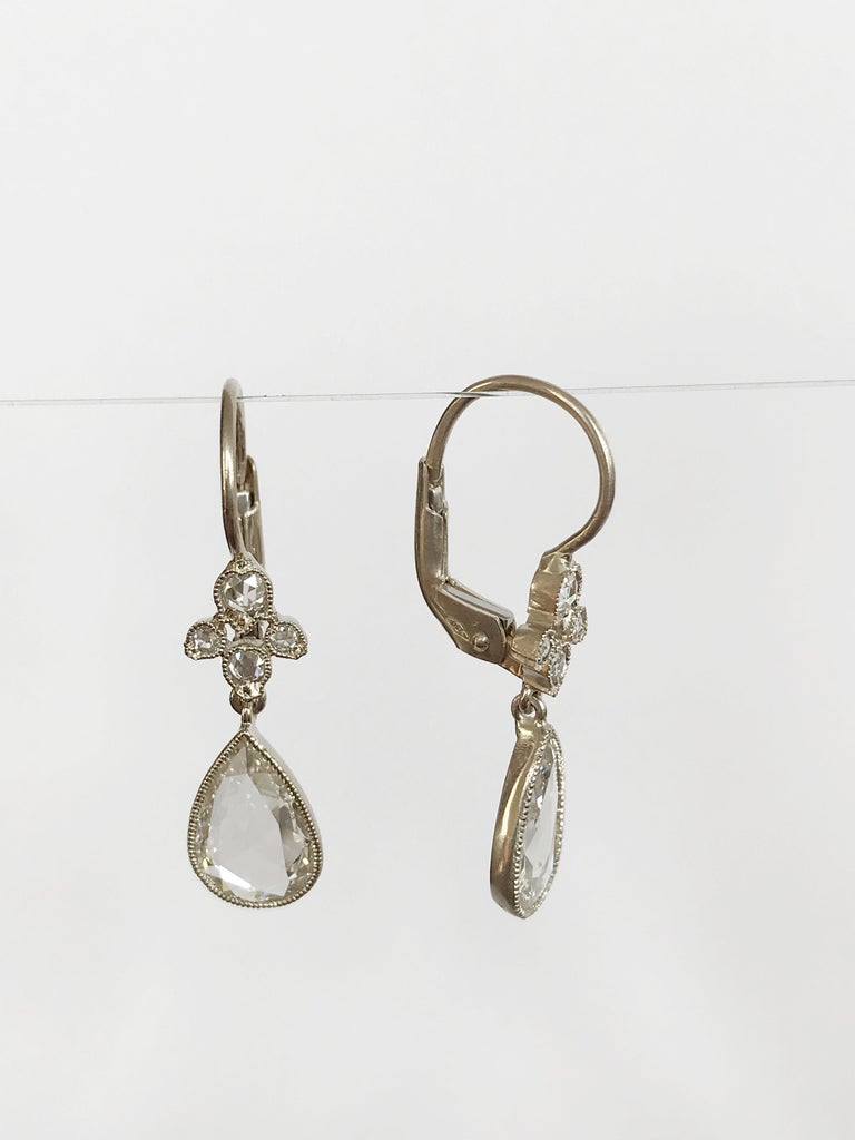 Dalben Pear Shape Rose Cut Diamond White Gold Earrings In New Condition For Sale In Como, IT