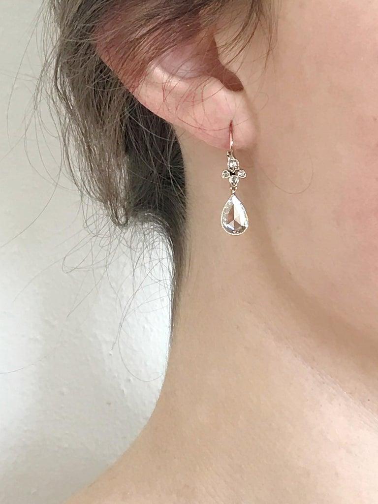 Dalben Pear Shape Rose Cut Diamond White Gold Earrings For Sale 1