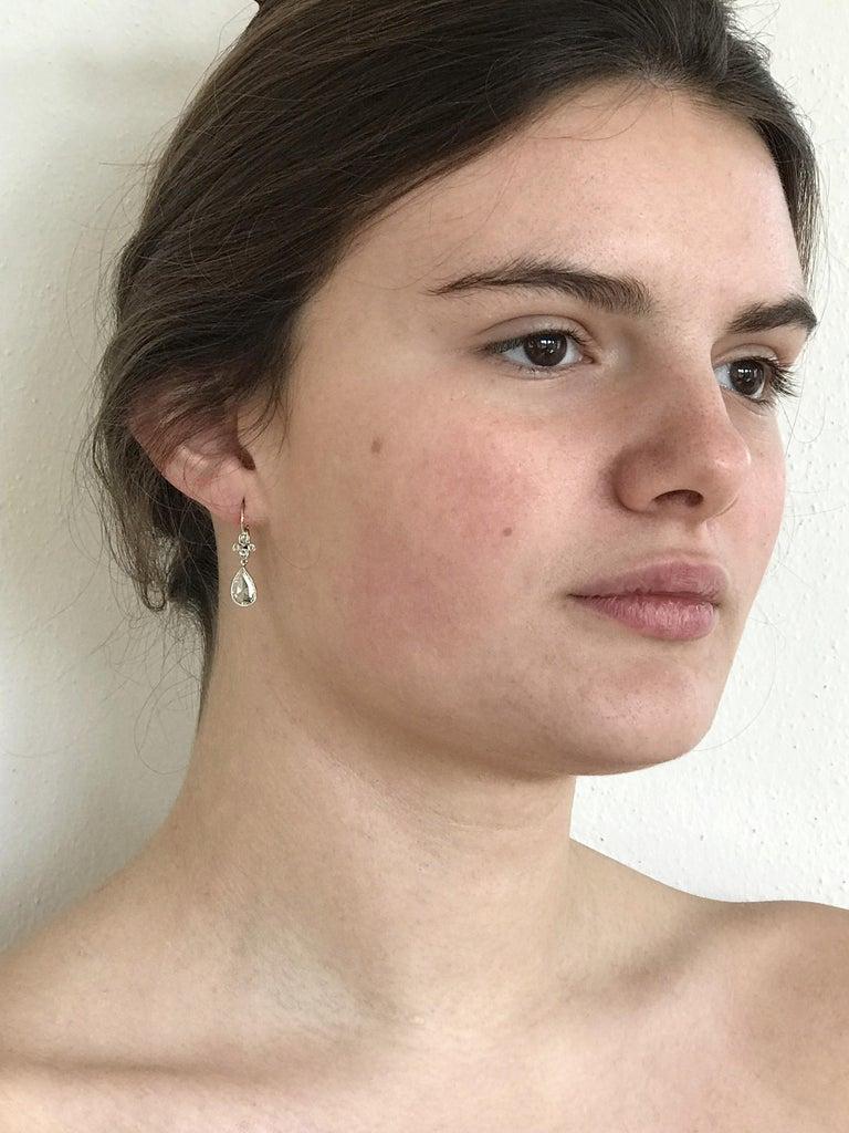 Dalben Pear Shape Rose Cut Diamond White Gold Earrings For Sale 2