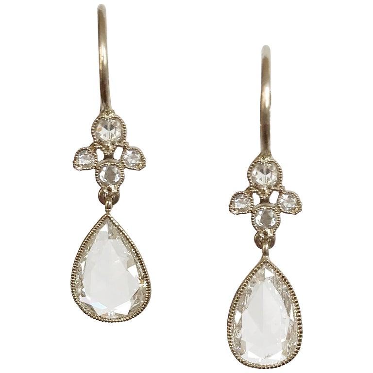 Dalben Pear Shape Rose Cut Diamond White Gold Earrings For Sale