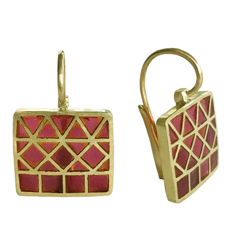 Dalben Plique a Jour Enamel Gold Earrings