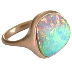 Dalben Rainbow Australian Boulder Opal Yellow Gold Ring