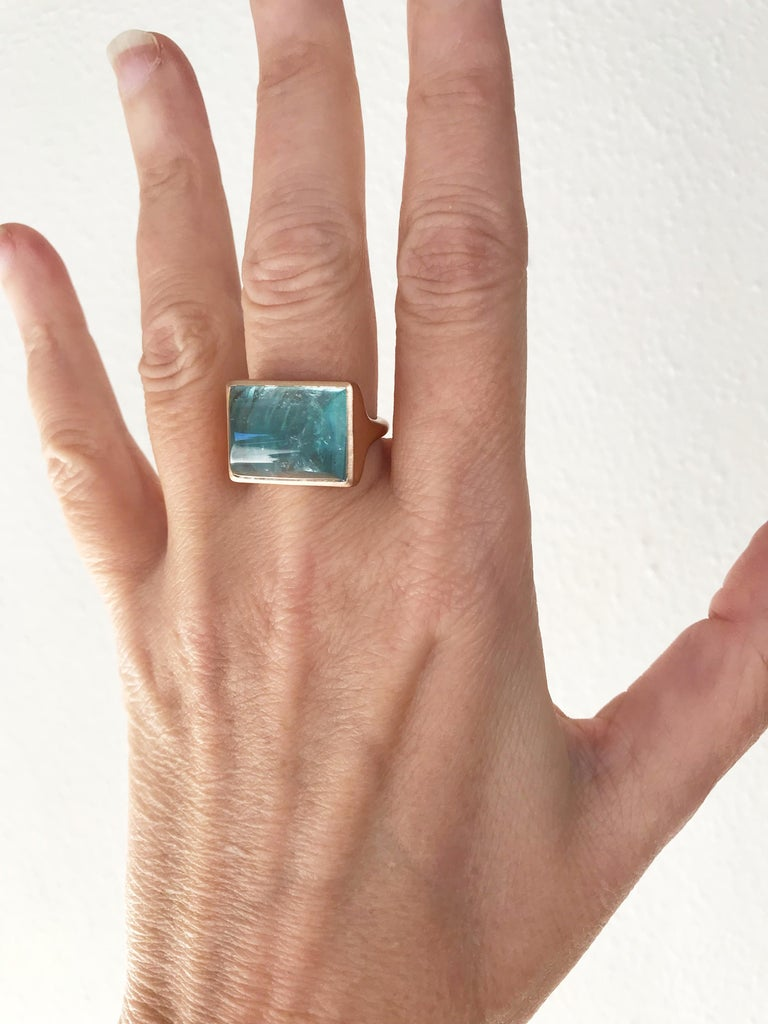 Dalben Rectangular Aquamarine Rose Gold Ring For Sale 5