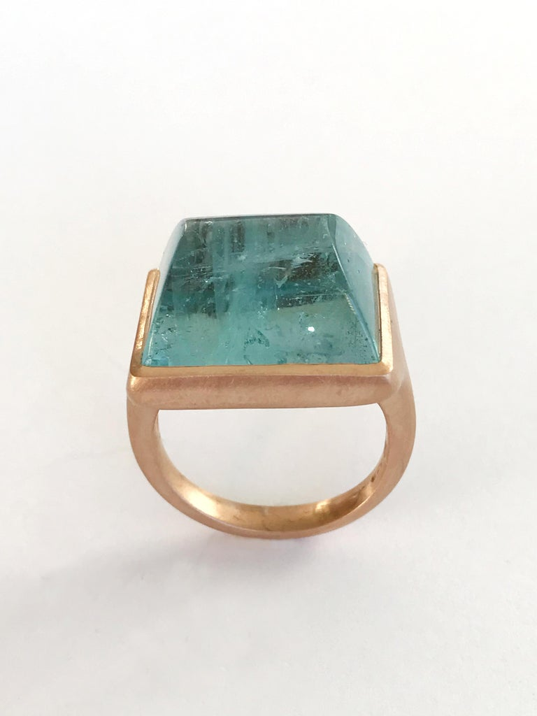 Women's Dalben Rectangular Aquamarine Rose Gold Ring For Sale
