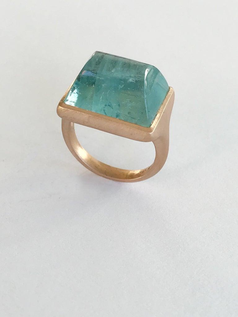 Dalben Rectangular Aquamarine Rose Gold Ring For Sale 1
