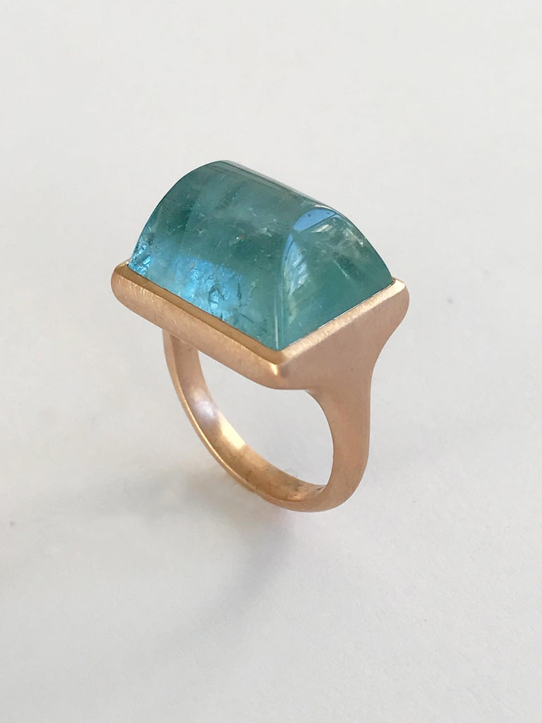 Dalben Rectangular Aquamarine Rose Gold Ring For Sale 2
