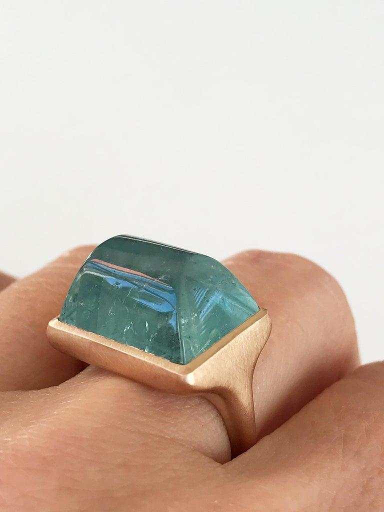 Dalben Rectangular Aquamarine Rose Gold Ring For Sale 3