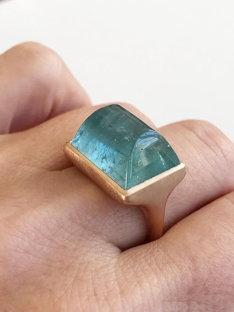 Dalben Rectangular Aquamarine Rose Gold Ring For Sale 4