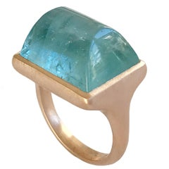 Dalben Rectangular Aquamarine Rose Gold Ring