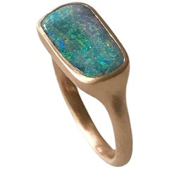 Dalben Rectangular Australian Boulder Opal Rose Gold Ring