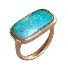Dalben Rectangular Boulder Opal Rose Gold Ring