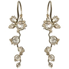 Dalben Rose Cut Diamonds White Gold Floral Earrings