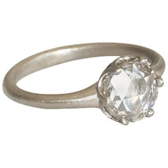 Dalben Round Rose Cut Diamond Gold Ring