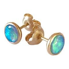Dalben Round Shape Australian Opal Rose Gold Earrings