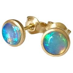 Dalben Round Shape Australian Opal Yellow Gold Earrings