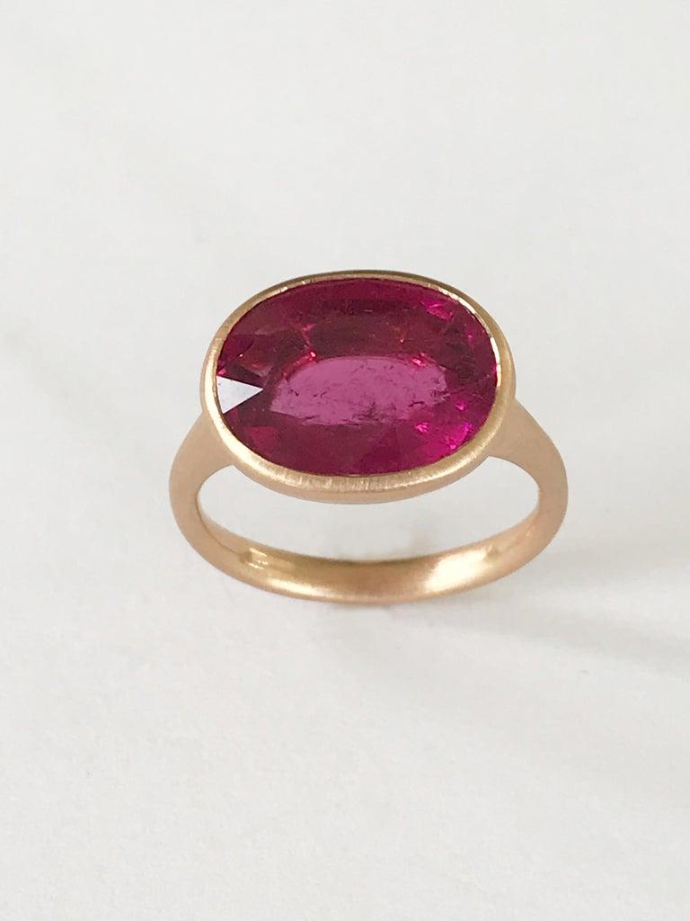 Contemporary Dalben Rubellite Rose Gold Ring For Sale