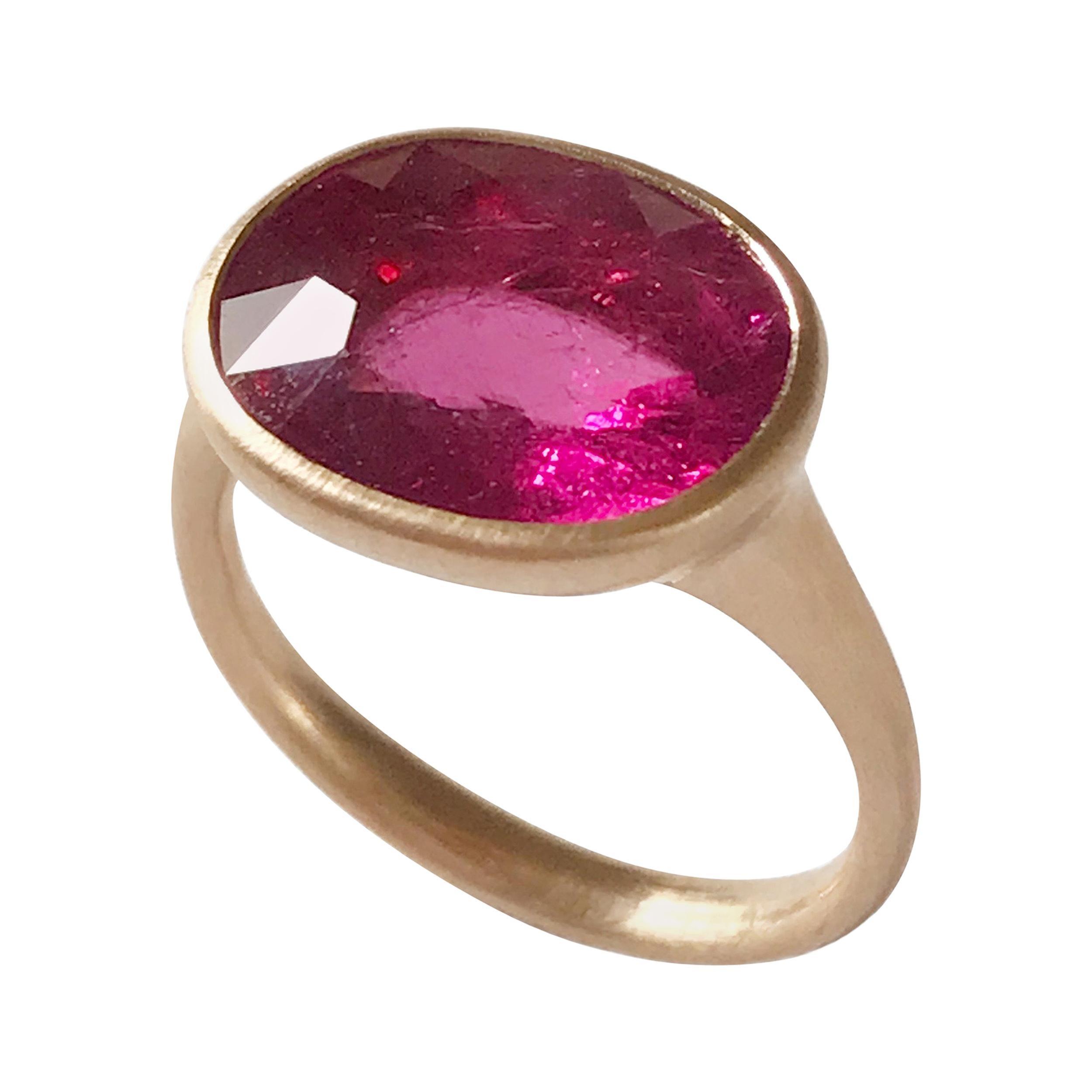 Dalben Rubellite Rose Gold Ring