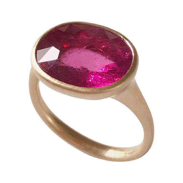 Dalben Rubellite Rose Gold Ring For Sale