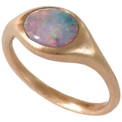 Dalben Small Australian Opal Rose Gold Ring