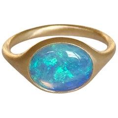 Dalben Small Australian Opal Yellow Gold Ring