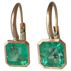 Dalben Small Emerald Cut Emerald Rose Gold Earrings