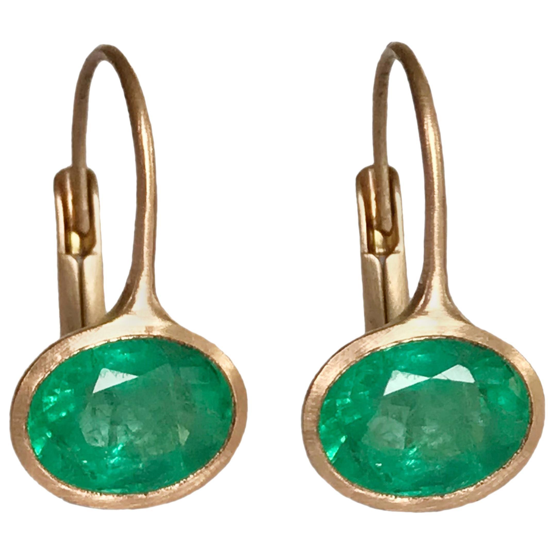 Dalben 2,63 Carat Oval Cut Emerald Rose Gold Earrings