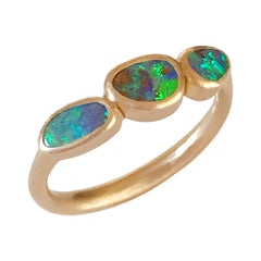 Dalben Small Trilogy Boulder Opal Rose Gold Ring