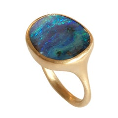 Dalben Stone Shape Boulder Opal Yellow Gold Ring