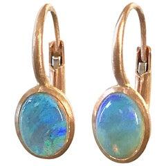 Dalben Tiny Oval Australian Opal Rose Gold Earrings