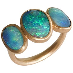 Dalben Trilogy Boulder Opal Rose Gold Ring