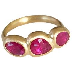 Dalben Trilogy Rose Cut Slice Ruby Yellow Gold Ring
