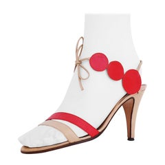 Dalco' Roma for Valentino Open High Heels circular red/beige design. Size 39 1/2