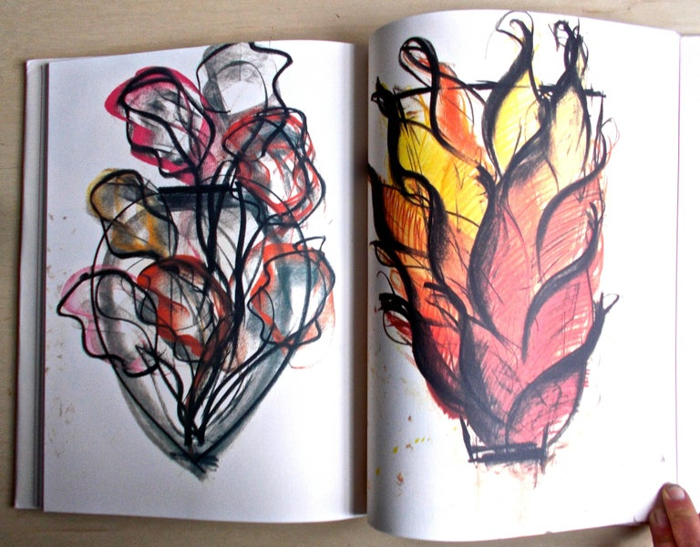 American Dale Chihuly 1990 Oil on Paper Drawing in His Book