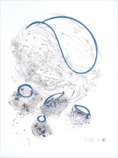 BASKET DRAWING Signed Lithograph w Pearlescent Ink, Free Form Abstract