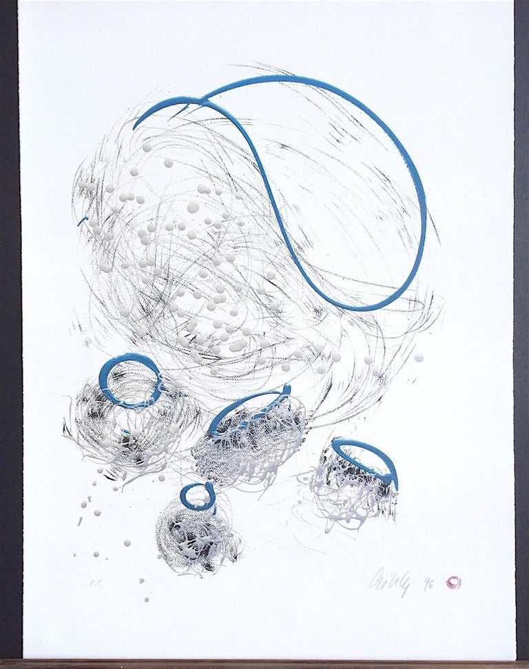 Basket Drawing, Signed Limited Edition Lithograph, Free Form Abstract - Print by Dale Chihuly