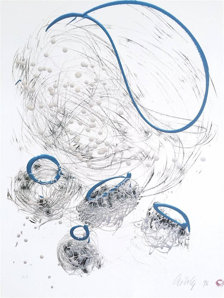Dale Chihuly Abstract Print - Basket Drawing, Signed Limited Edition Lithograph, Free Form Abstract