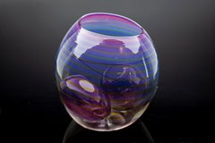 Dale Chihuly 3 Piece Royal Violet Basket Set Hand Blown Glass Signed Dated