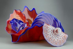 Dale Chihuly Carnelian and Lapis Persian Set with Blue Lip Wraps Orig glass