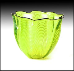 Dale Chihuly ORIGINAL Hand Blown Glass Macchia Large Hand Signed Modern Basket