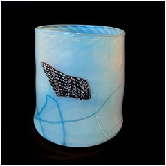 Dale Chihuly ORIGINAL HAND BLOWN Glass Soft Cylinder Signed Artwork Blanket Blue