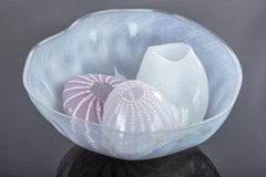 Large Dale Chihuly 1980 Four piece Basket Set Signed Dated Hand Blown Glass