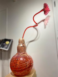 Red Orange Ikebana with Flower