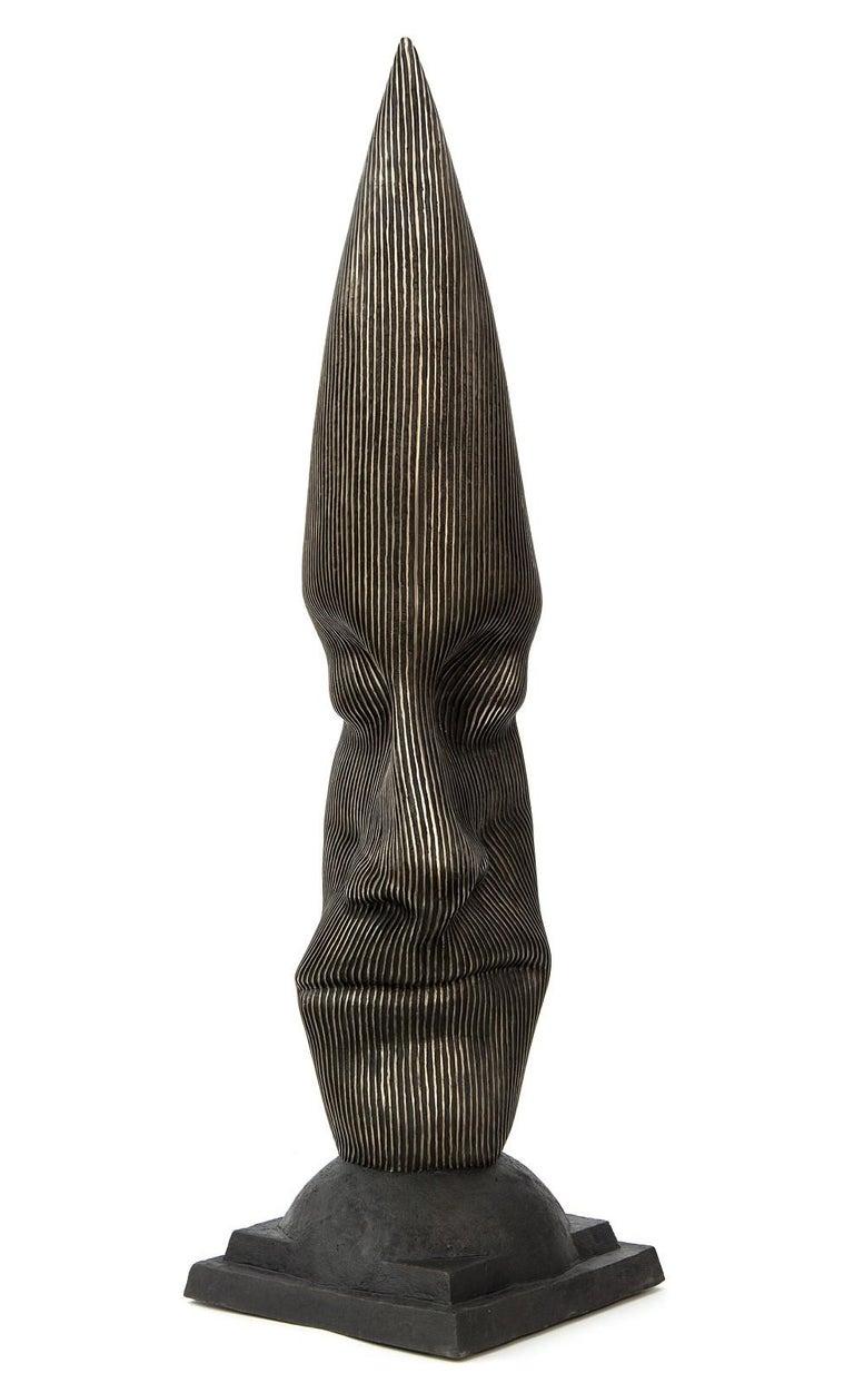 Sentinel - tall, dark, abstract, human face, head, bronze, sculpture - Sculpture by Dale Dunning
