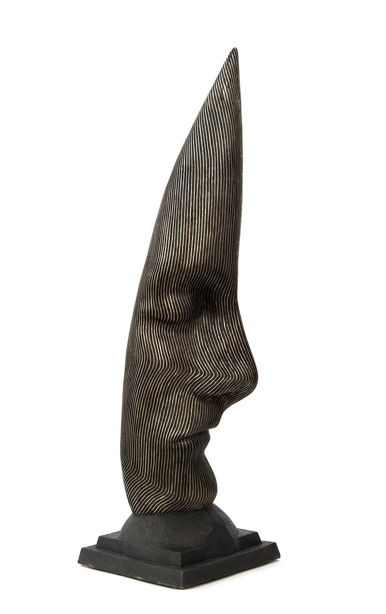 Sentinel - tall, dark, abstract, human face, head, bronze, sculpture - Contemporary Sculpture by Dale Dunning